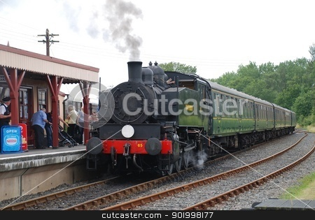 Steam train, Bodiam, England stock photo, USA 0-6-0T class steam locomotive at Bodiam station in East Sussex, England on August 20, 2012. Built in the USA in 1943, it now operates on the Kent and East Sussex Railway. by newsfocus1