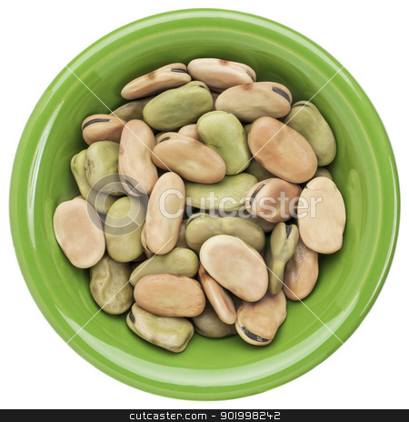 fava (broad) bean stock photo, dried fava (broad) bean in a small ceramic bowl isolated on white by Marek Uliasz