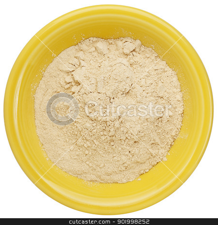 maca root powder  stock photo, maca root powder (nutrition supplement - superfood from Andies) in a small ceramic bowl, clipping path by Marek Uliasz