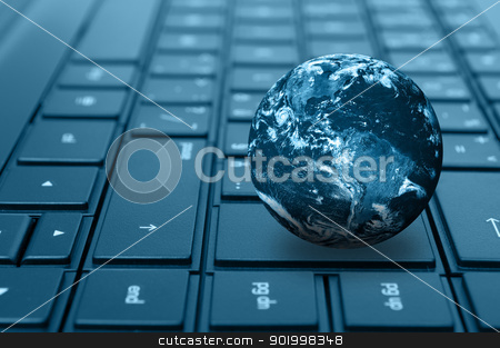 Computer Keyboard stock photo, Planet Earth on Keyword of Notebook in Shades of Blue. Elements of this image furnished by NASA. Terms of use: http://visibleearth.nasa.gov/useterms.php by JAMDesign