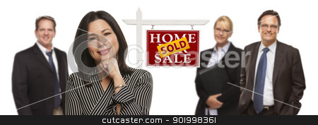 Mixed Race People with Sold Real Estate Sign Isolated stock photo, Pretty Hispanic Woman and Other People Behind in Front of Sold Home For Sale Real Estate Sign Isolated on a White Background. by Andy Dean