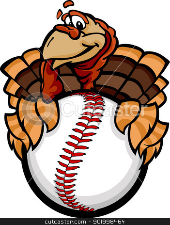 Baseball or Softball Happy Thanksgiving Holiday Turkey Cartoon V stock vector clipart, Cartoon Vector Image of a Happy Thanksgiving Holiday Baseball or Softball Turkey Holding a Baseball Ball by chromaco