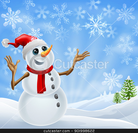 Christmas Snowman winter landscape stock vector clipart, Christmas Snowman standing in a winter landscape with snowflakes and Christmas trees by Christos Georghiou