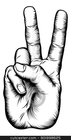 Victory V salute or peace hand sign stock vector clipart, Illustration of a victory V salute or peace hand sign in a retro woodblock style by Christos Georghiou