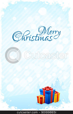 Grungy Christmas Greeting Card stock vector clipart, Grungy Christmas Greeting Card with Presents by Vadym Nechyporenko