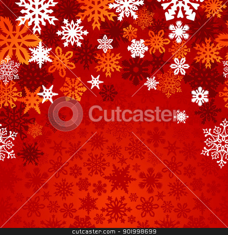Christmas snowflakes background stock vector clipart, Red Christmas snowflakes background. Vector illustration layered for easy manipulation and custom coloring. by Cienpies Design