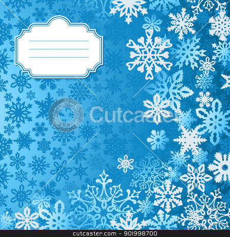 Blue Christmas snowflakes background greeting card stock vector clipart, Blue Christmas snowflakes background greeting card. Vector illustration layered for easy manipulation and custom coloring. by Cienpies Design