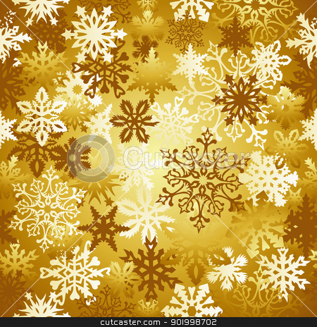 Gold Christmas snowflakes pattern stock vector clipart, Golden Christmas snowflakes seamless pattern background. Vector illustration layered for easy manipulation and custom coloring. by Cienpies Design