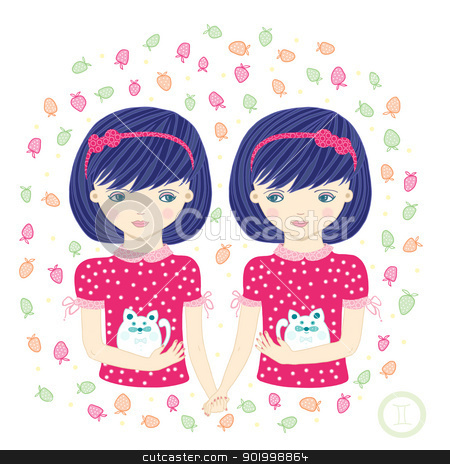 Gemini. stock photo, Horoscope. Zodiac signs- Gemini. Raster illustration of the girl.  by Natalia Konstantinova