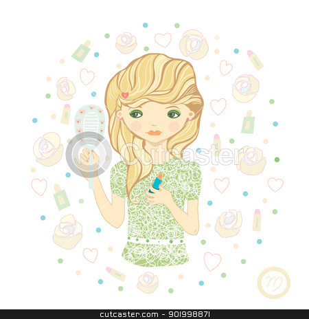 Virgo stock photo, Horoscope. Zodiac signs -Virgo. Raster illustration of the girl.  by Natalia Konstantinova