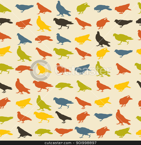 Birds pattern stock vector clipart, Seamless pattern with pigeons in retro tones by Richard Laschon