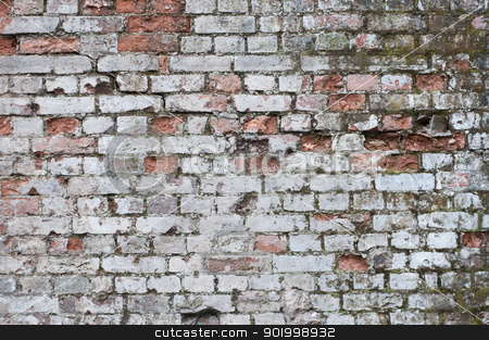Aged brick wall stock photo, Grungy white painted red brick wall   by necati turker