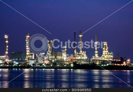 Oil refinery  stock photo, Oil refinery plant in the dawn. by chatchai