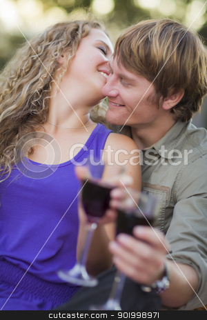 An Attractive Couple Enjoying A Glass Of Wine in the Park stock photo, An Attractive Couple Enjoying A Glass Of Wine in the Park Together. by Andy Dean