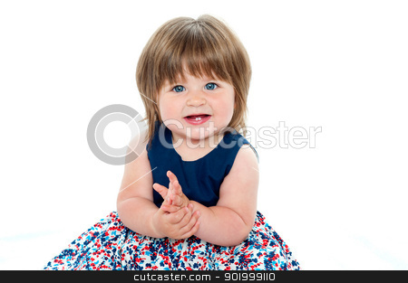 Pretty chubby little girl stock photo, Beautiful pretty chubby little girl. Studio shot by Ishay Botbol