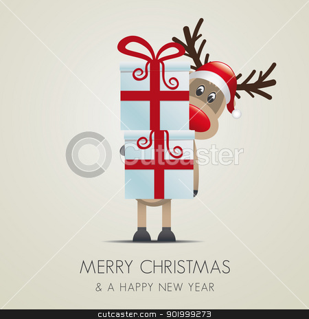 reindeer hold gifts with red ribbon stock vector clipart, reindeer hold gift boxes with red ribbon by d3images