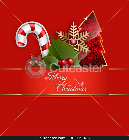 A Merry Christmas Background stock vector clipart,  Illustration of a Merry Christmas Background with ornaments and embellishment by Vladimir Repka