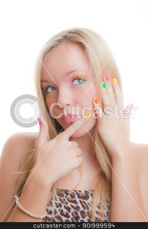 teen nails stock photo, teen girl after manicure with painted nails by mandygodbehear