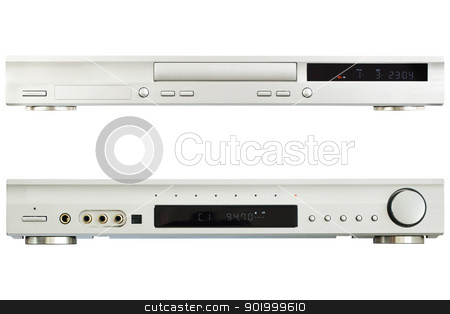 DVD Player AV Receiver on a white background stock photo, DVD Player AV Receiver on a white background by ARNIS LAZDINS