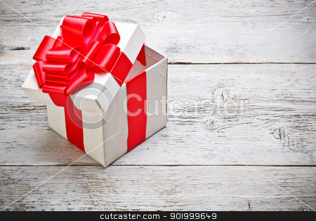 Open present box  stock photo, Open present box on painted wooden background  by Grafvision
