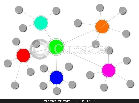 Network stock photo, Illustration of a complex network with different clusters. by Henrik Lehnerer