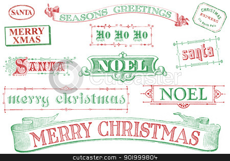 Vintage Christmas Stamps stock photo, A set of distressed, old-style red and green Christmas-themed stamps. Similar in style to imprints from the 1800s.  Isolated on white. by Mark Carrel
