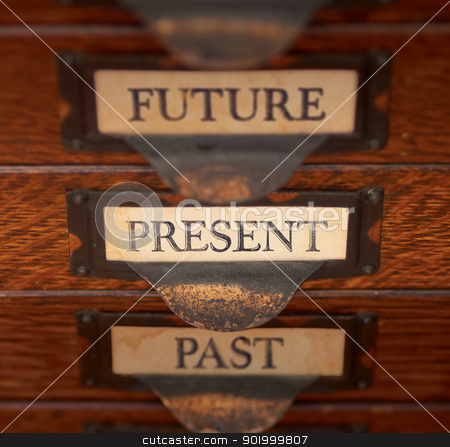 Focus On Now stock photo, Stack of three old, oak flat file drawers with