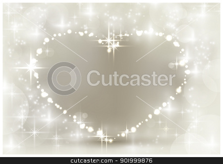 Silver sparkling Christmas heart stock vector clipart, Heart shaped space for your text, surrounded by sparkling lights, stars and blurry light dots in shades of white and silver beige. A background with a festive feeling for loved ones. by Ina Wendrock