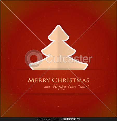 Red Christmas tree card stock vector clipart, Christmas tree applique vector background. A slight texture gives it an aged paper feeling.Space for your text. by Ina Wendrock