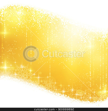 Golden sparkling Christmas background stock vector clipart, Shiny light effects with magical stars and glittering snowflakes in shades of gold between wavy contour. Great for the festive season of Christmas to come. by Ina Wendrock
