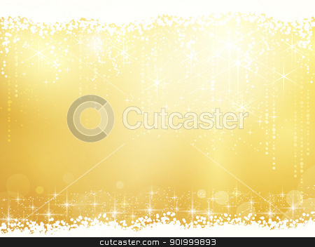 Abstract background with stars, snowfall and light effects stock vector clipart, Golden background for Christmas and other festive occasions. Sparkling stars give it a magical feeling for the festive season to come. by Ina Wendrock