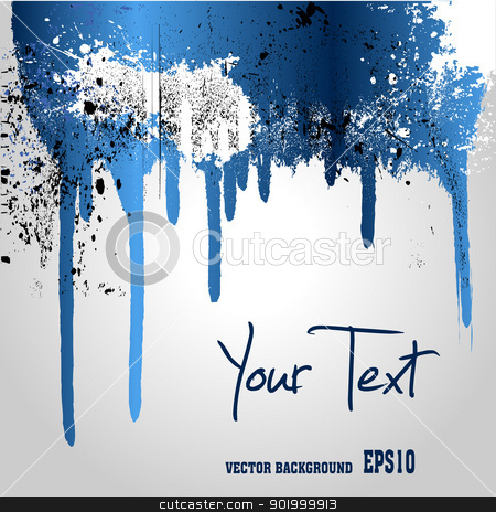 Blue abstract paint splashes stock vector clipart,  by zühal