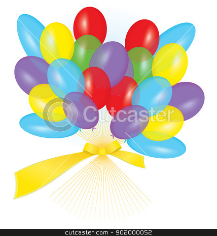Ribbon balloon bouquet vector stock vector clipart, Vector illustration of many colorful balloons tied with ribbon as a bouquet
