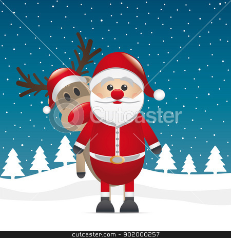 reindeer red nose look santa claus stock vector clipart, reindeer red nose look behind santa claus by d3images