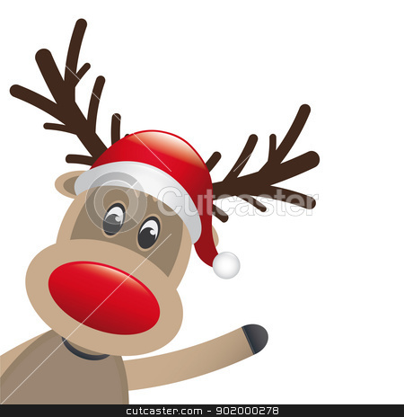 reindeer red nose and hat scarf stock vector clipart, reindeer red nose and hat scarf wave by d3images