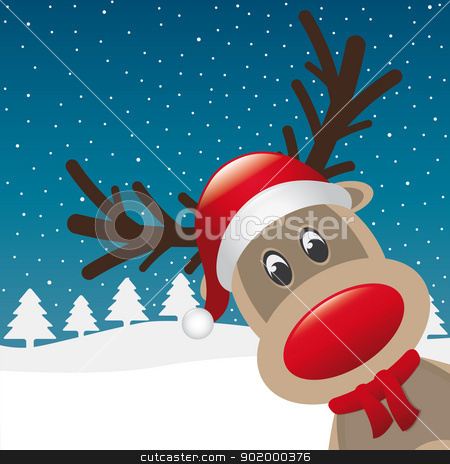 reindeer red nose and hat scarf stock vector clipart, reindeer red nose and hat scarf landscape by d3images