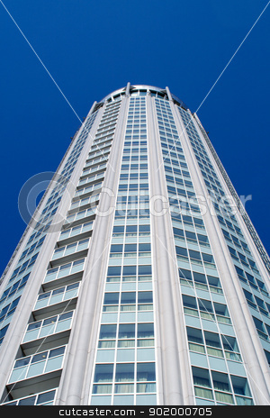 High modern building on background blue sky. Moscow, Russia.  stock photo, High modern building on background blue sky. Moscow, Russia. by Sergii Sukhorukov