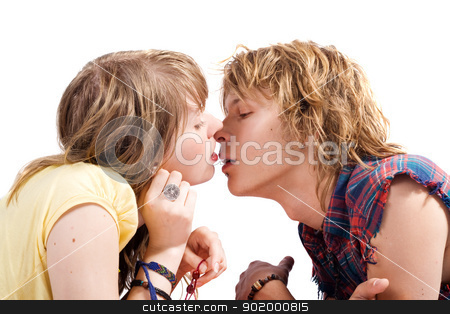 Portrait of kissing young beauty couple 2 stock photo, Portrait of kissing young beauty couple 2 by Sergii Sukhorukov