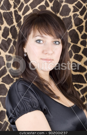 portrait of the young beauty woman in black dress stock photo, portrait of the young beauty woman in black dress by Sergii Sukhorukov
