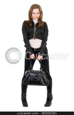 The young woman in a black suit. Isolated stock photo, The young woman in a black suit. Isolated by Sergii Sukhorukov
