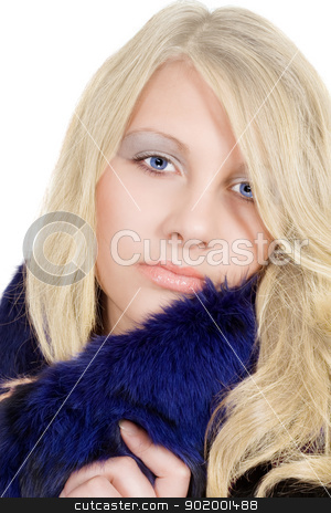 Portrait of the blonde with an ice sight stock photo, Portrait of the blonde with an ice sight by Sergii Sukhorukov