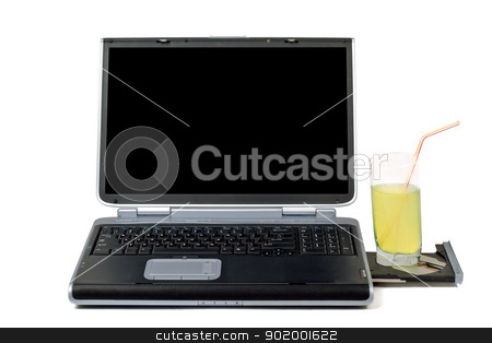 Laptop and cocktail. Isolated on white background stock photo, Laptop and cocktail. Isolated on white background by Sergii Sukhorukov