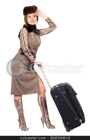 Young lady with a suitcase. Isolated on white stock photo, Young lady with a suitcase. Isolated on white by Sergii Sukhorukov