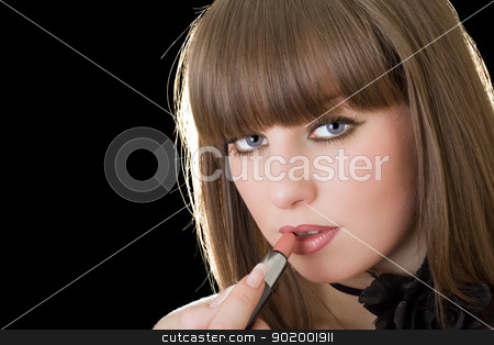 Portrait of the pretty girl with lipstick stock photo, Portrait of the pretty girl with lipstick by Sergii Sukhorukov