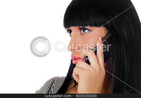 Portrait of the girl speaking on the phone. Isolated stock photo, Portrait of the girl speaking on the phone. Isolated by Sergii Sukhorukov