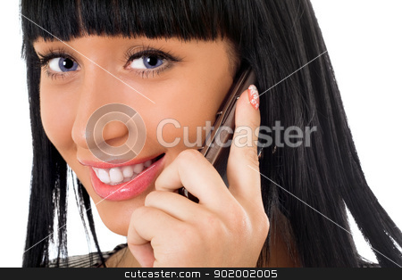 Portrait of the smiling girl speaking on the phone stock photo, Portrait of the smiling girl speaking on the phone by Sergii Sukhorukov