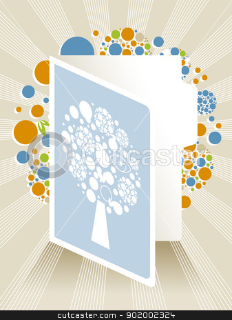 Greeting Card Illustration with Abstract Tree stock vector clipart, Greeting Card Vector Illustration with Abstract Tree by 99idesign