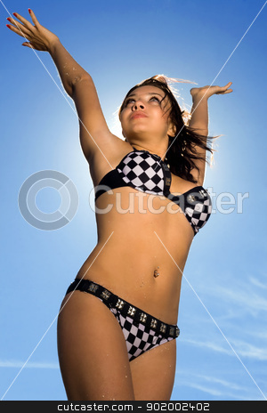 Beautiful young woman stock photo, Sexy beautiful young woman under the sunlight by Sergii Sukhorukov