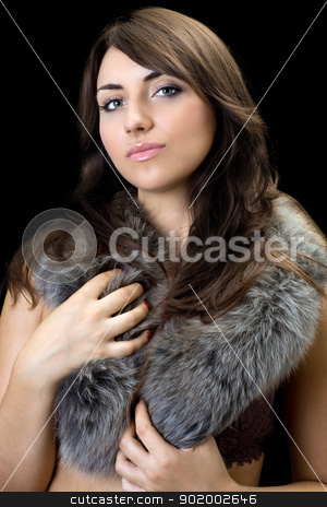 thoughtful brunette stock photo, Portrait of attractive thoughtful brunette. Isolated on black by Sergii Sukhorukov