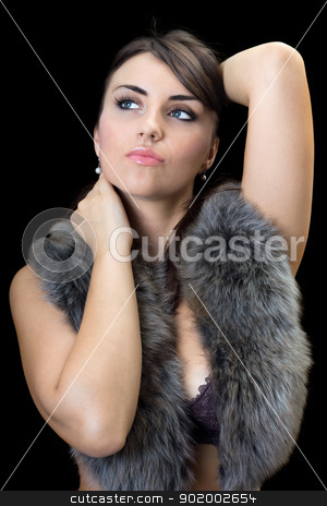 Portrait of pretty brunette stock photo, Portrait of pretty brunette with charming look. Isolated by Sergii Sukhorukov